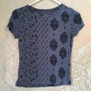 American Eagle Soft N Sexy Blue Boho Patterned Top